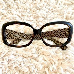 Fendi tortoise shell squarish eyeglass frames